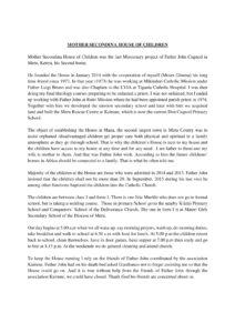 Lettera da Moses , responsabile della Mother Secondina House creata da Padre John a Maua