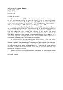 Lettera di ringraziamento da Don Nicholas, febbraio 2021